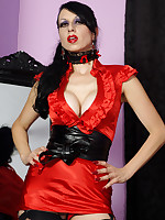 slutty red satin dress, stockings and naughty panties - Granny Girdles